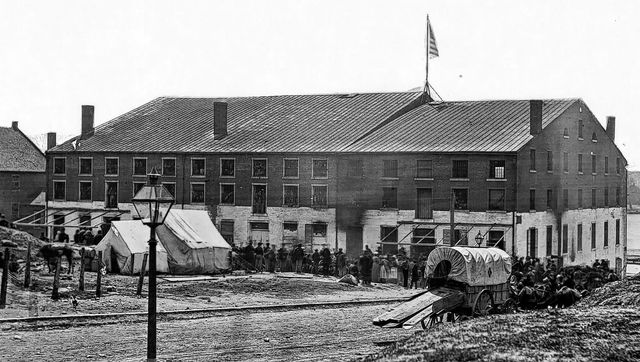"""Libby Prison, in the Confederate capital of Richmond, Virginia. """"(Ream) spent five months in Libby prison where starvation all but took his life,"""" the News wrote. """"Upon his parole, he walked three miles before he sighted the American flag, which to him he says was one of the most wonderful sights in his lifetime."""""""