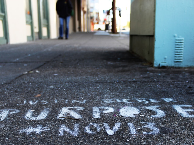"This photo provided by the San Francisco city attorney's office shows Justin Bieber graffiti on a San Francisco street that was part of a widespread and illegal guerrilla marketing campaign in San Francisco promoting the release of the pop star's new album, ""Purpose."""