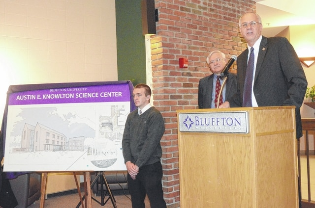 Bluffton University President James Harder, right, announces the $4 million donation to the science center Friday as Austin E. Knowlton Foundation Trustee Ed Diller, center, and Bluffton student Jeff Yoder look on.