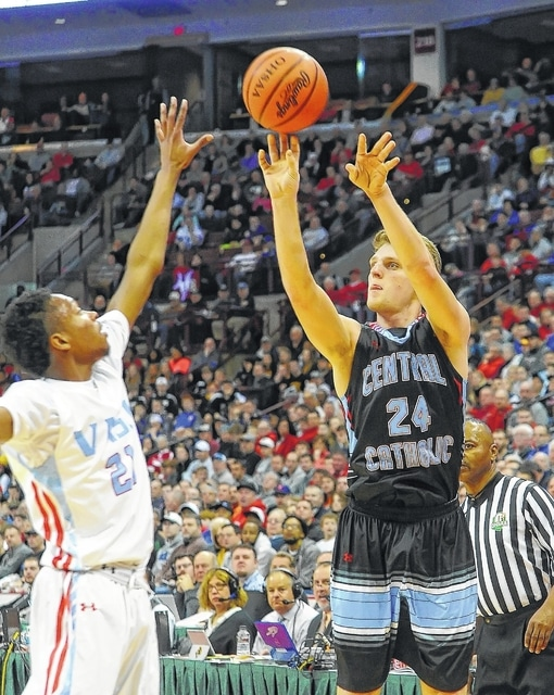 Lima Central Catholic's Ethan O'Connor puts up a shot against Cleveland Villa Angela-St Joseph's Sherman Dean III during Saturday's Division III state championship game Saturday at Value City Arena in Columbus.