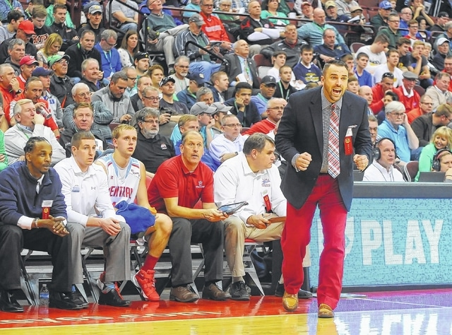 """Lima Central Catholic's coach Frank Kill sported """"T-Bird red"""" pants for Thursday's Division III semifinal against Roger Bacon at Value Center Arena in Columbus."""
