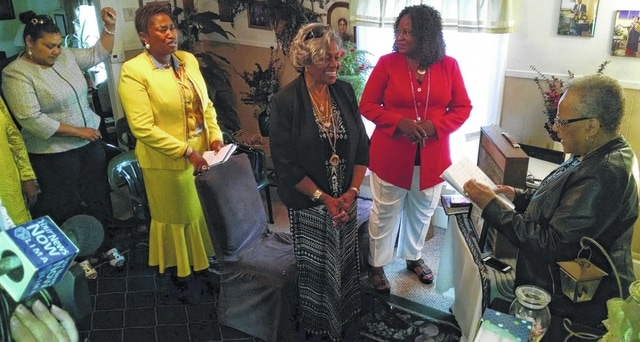 A group of female minsters from around the world gather in Lima for a women's leadership conference. Sharon Jefferson (right), the Apostle Bishop of New Creation Ministry International in Lima, organized the effort to hold the conference in Lima.