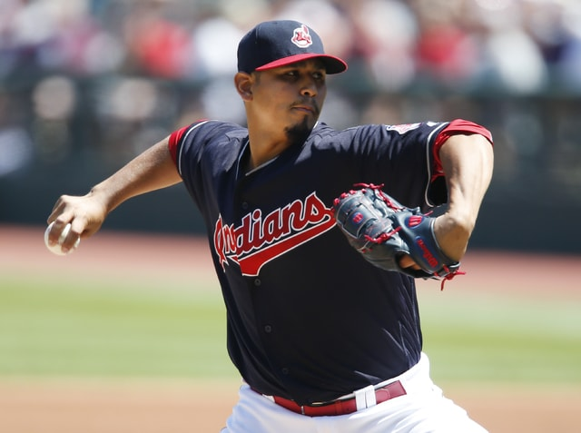 Cleveland Indians starting pitcher Carlos Carrasco throws against the Washington Nationals during the first inning of a baseball game Wednesday, July 27, 2016, in Cleveland. (AP Photo/Ron Schwane)