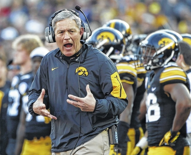 FILE - In this Jan. 1, 2016, file photo, Iowa coach Kirk Ferentz reacts as Stanford running back Christian McCaffrey scores during the first half of the Rose Bowl NCAA college football game in Pasadena, Calif. Iowa's 12-0 start last season led some to label the Hawkeyes a fluke, and a blowout loss to Stanford in the Rose Bowl only seemed to confirm those suspicions. Iowa is intent on proving that it's still a national contender,  and the Hawkeyes should have a team capable of doing so (AP Photo/Lenny Ignelzi, File)