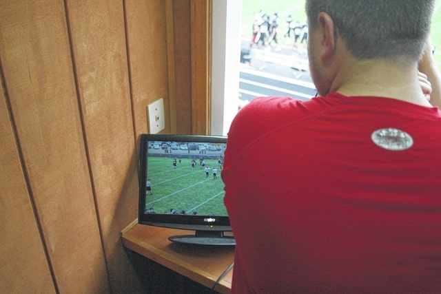 Spencerville, one of the first schools to incorporate tablets, purchased high definition cameras and monitors to record football games.
