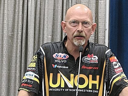 UNOH High Performance Department division head Paul Higgins talks about the university's competitive racing program Monday at the Lima Rotary Club meeting.