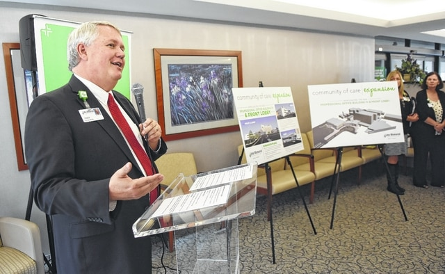 Mike Swick, president and CEO of Lima Memorial Health System announces the $23 million building expansion during a press conference Thursday afternoon in the lobby.
