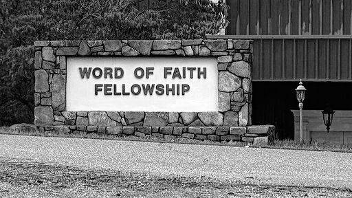 This 2016 image from video shows the entrance to the Word of Faith Fellowship church in Spindale, N.C. Newcomers to the Word of Faith Fellowship live by a list of strict rules for daily life, which sect leader Jane Whaley says God revealed to her, former members say.