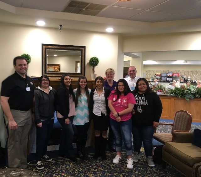 Left to right: Steve Apple (executive director), students: Jiselle Pena, Alexia Elizarraga, Marissa Chamberlain, Sonya Mendoza, Esmeralda Cano and Alondra Cano. Back row: Michelle Flores (WBL coach, Michael Rudinicki (recruiter).