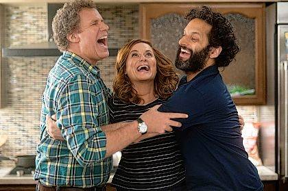 "FILE - This file image released by Warner Bros Pictures shows, from left, Will Ferrell, Amy Poehler and Jason Mantzoukas in a scene from ""The House."" The Minions are still a box office force and original stories are scoring big, but not the R-rated comedy — even with Will Ferrell and Amy Poehler behind it. (Glen Wilson/Warner Bros. Entertainment via AP, File)"
