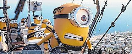 "This file image released by Illumination and Universal Pictures shows the Minions in a scene from ""Despicable Me 3."" The Minions are still a box office force and original stories are scoring big, but not the R-rated comedy — even with Will Ferrell and Amy Poehler behind it."