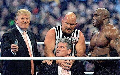 """FILE - In this Sunday, April 1, 2007, file photo, WWE Chairman Vince McMahon, center, held by """"Stone Cold"""" Steve Austin, prepares to have his hair cut off by Donald Trump, left, and Bobby Lashley, right, after Lashley defeated Umaga at Wrestlemania 23 at Ford Field in Detroit. Wrestling aficionados say President Trump, who has a long history with the game, has borrowed tactics of the sport to cultivate the ultimate antihero character - who wins at all costs, incites outrage and follows nobody's rules but his own. (AP Photo/Carlos Osorio, File)"""