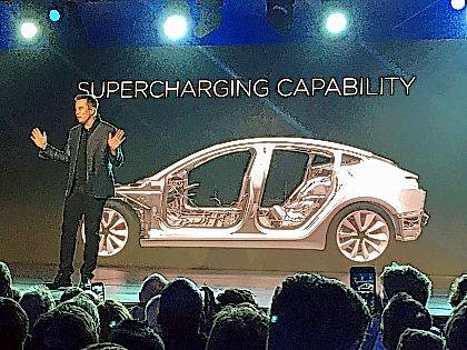 In this March 31, 2016, file photo, Tesla Motors Inc. CEO Elon Musk speaks at the unveiling of the Model 3 at the Tesla Motors design studio in Hawthorne, Calif. Electric car maker Tesla said Monday that its Model 3 car will go on sale on Friday.