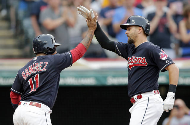 Cleveland Indians' Lonnie Chisenhall, right, is congratulated by Jose Ramirez after Chisenhall hit a two-run home run off Detroit Tigers starting pitcher Jordan Zimmermann during the third inning of a baseball game, Friday, July 7, 2017, in Cleveland. Ramirez scored on the play. (AP Photo/Tony Dejak)