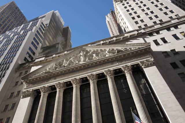 This Wednesday, Dec. 21, 2016, photo shows the New York Stock Exchange. U.S. stocks wavered between small gains and losses in early trading Monday, July 10, 2017. (AP Photo/Mark Lennihan)