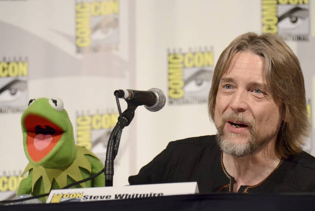 "In this July 11, 2015, file photo, Kermit the Frog, left, and puppeteer Steve Whitmire attend ""The Muppets"" panel on day 3 of Comic-Con International in San Diego. ABC News and The Hollywood Reporter reported MMonday that Whitmire is no longer performing the character."