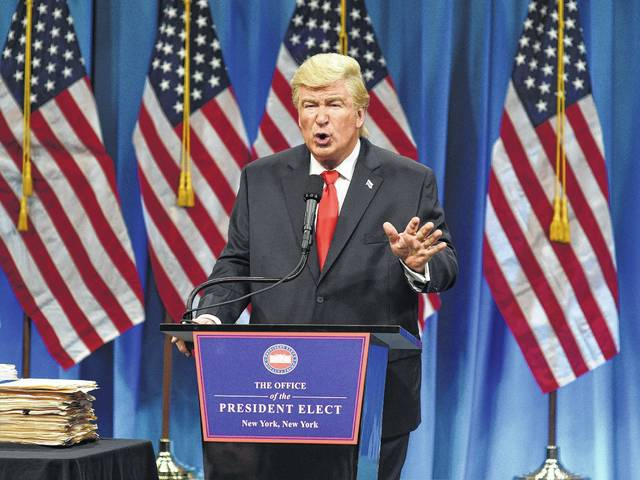 """This Jan. 14 photo released by NBC shows Alec Baldwin as President-elect Donald J. Trump in a sketch on """"Saturday Night Live"""" in New York. Baldwin was nominated for an Emmy Award for outstanding supporting actor in a comedy series on Thursday. The Emmy Awards ceremony, airing Sept. 17 on CBS, will be hosted by Stephen Colbert."""