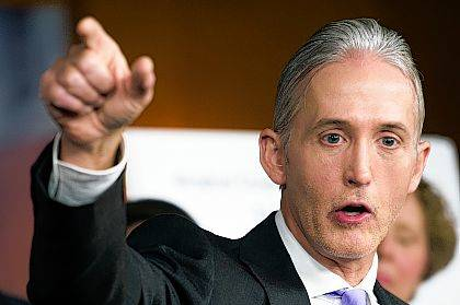 FILE - In this June 28, 2016, file photo, U.S. Rep. Trey Gowdy, R-S.C., discusses the release of his final report on the 2012 attacks on the U.S. consulate in Benghazi, Libya, where a violent mob killed four Americans, including Ambassador Christopher Stevens during a news conference on Capitol Hill in Washington. The AP reported on July 21, 2017, that a story claiming Gowdy ended the investigation into possible ties between Trump's campaign and Russia is not accurate. (AP Photo/Cliff Owen, File)