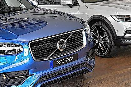 A Volvo XC 90 during an interview with Volvo Cars CEO Hakan Samuelsson at Volvo Cars Showroom in Stockholm, Sweden, on Wednesday. Samuelsson said that all Volvo cars will be electric or hybrid within two years. The Chinese-owned automotive group plans to phase out the conventional car engine.