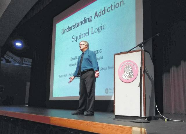 Brad Landers, clinical director of addiction medicine at Ohio State University Wexner Medical Center, addresses the biological nature of drug addiction during a seminar Friday at Lima Senior High School.