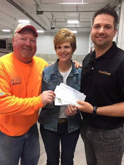From left: Dale Niese, owner of Dale's Concrete, Jeanne Beutler, executive director of the Putnam County United Way, and Jonathan Fortman, owner of Fortman Insurance.