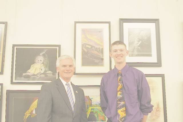 From left: Congressman Bob Latta welcomes Cory-Rawson student, Ethan Cawley to the U.S. Capitol Building. Cawley won Ohio's Fifth District Congressional Art Competition.