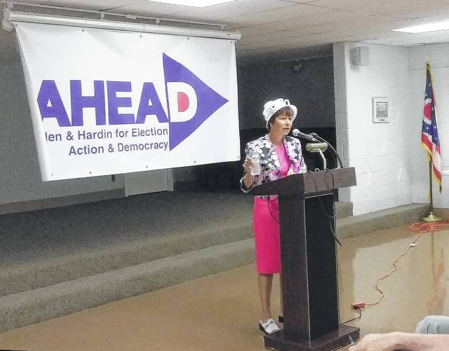 Retired Oberlin teacher Janet Garrett spoke to supporters Thursday at the Lima Public Library. Garrett is looking to run for a third time against U.S. Rep. Jim Jordan, R-Urbana, in the general election.
