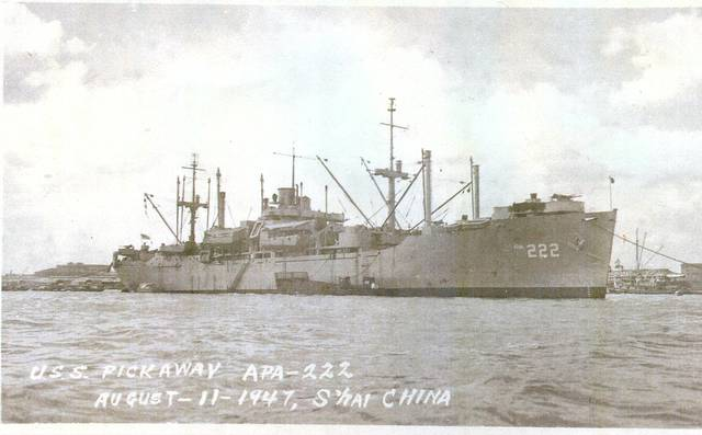 Don Miehls served aboard the USS Pickaway. They sailed to China and escorted the Marines out of China.