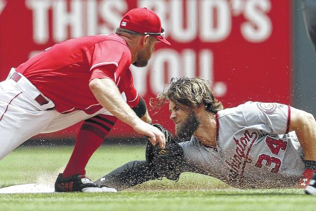 Washington Nationals runner Bryce Harper (34) is tagged out at second by Cincinnati Reds second baseman Jose Peraza in one of the few bright spots for the Reds in a 6-1 loss on Monday.