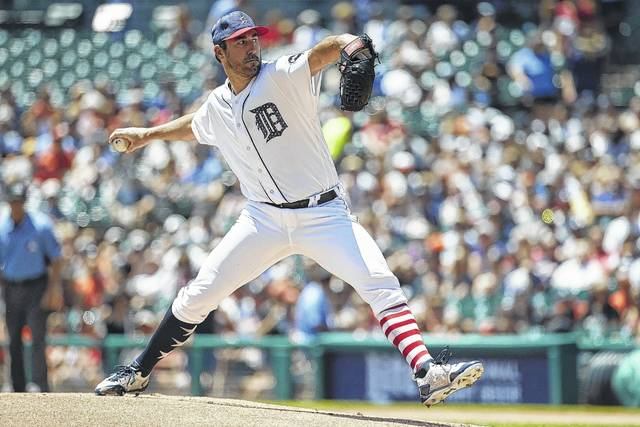 Detroit Tigers pitcher Justin Verlander (35) pitches against the Cleveland Indians in the first inning of a baseball game in Detroit on Sunday. Even the Tigers' long-time ace has been mentioned in trade rumors this season.