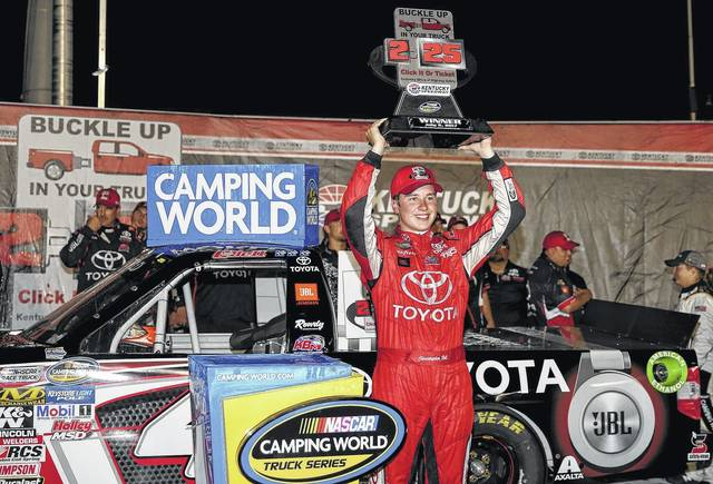 Christopher Bell celebrates after winning a NASCAR Trucks Series on July at Kentucky Speedway in Sparta, Ky. Bell is counting on his experience racing on dirt when the series comes to Eldora on Wednesday night.