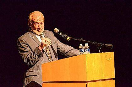 Buzz Aldrin addressed a packed auditorium Saturday at the Wapakoneta Peforming Arts Center as part of the Summer Moon Festival.
