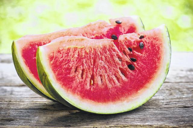 One measuring cup of watermelon chunks has just 46 calories plus a healthy dose of vitamins A and C -- nutrients that strengthen our immune system and make our skin glow. (Dreamstime/TNS)