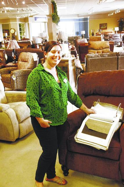 Maggie Haiber Shows Material Samples For Recliners At Westrich Furniture
