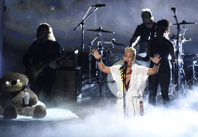 Pink performs a medley at the MTV Video Music Awards at The Forum on Sunday in Inglewood, Calif.