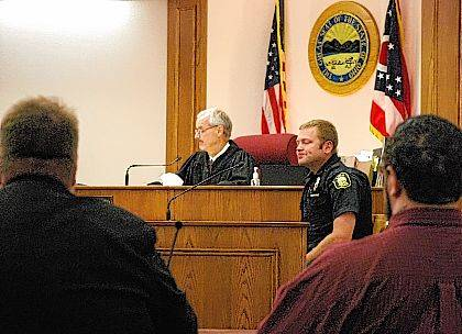 J Swygart | The Lima News Lima Police Patrolman Corey Noftz was among the opening-day witnesses to testify Tuesday in the aggravated murder trial of Ross McWay.