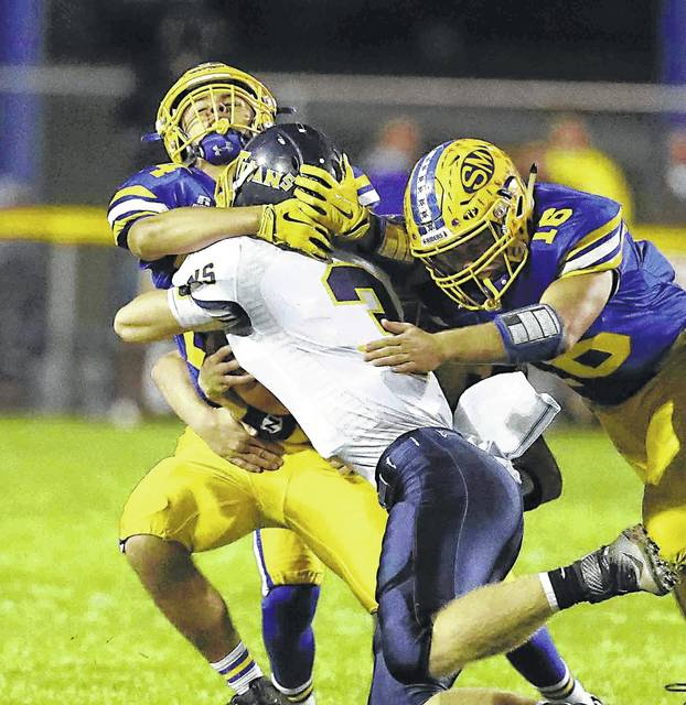St.Marys linebackerAustin Giesige (16), a first-team, all-WBL performer, looks to build on his big year last year where he recorded 98 tackles.
