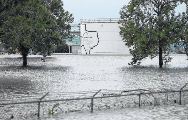 The Arkema Inc. chemical plant is flooded from Tropical Storm Harvey, Wednesday, Aug. 30, 2017, in Crosby, Texas. The plant, about 25 miles (40.23 kilometers) northeast of Houston, lost power and its backup generators amid Harvey's dayslong deluge, leaving it without refrigeration for chemicals that become volatile as the temperature rises.