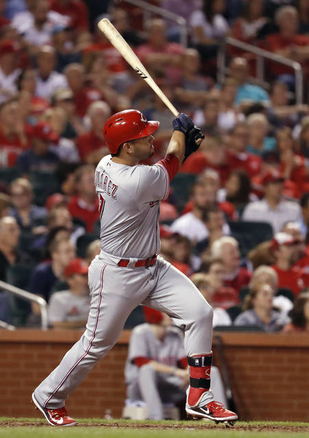 Cincinnati Reds' Eugenio Suarez follows through on a grand slam during the fifth inning of a baseball game against the St. Louis Cardinals on Wednesday, Sept. 13, 2017, in St. Louis. (AP Photo/Jeff Roberson)