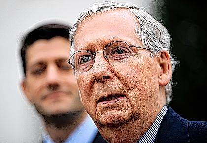 In this Feb. 27, 2017 file photo, Senate Majority Leader Mitch McConnell of Ky., accompanied by House Speaker Paul Ryan of Wis., speaks to reporters outside the White House in Washington, following their meeting with President Donald Trump inside.  Harvey has scrambled the equation for Congress as lawmakers return to Washington Tuesday. Having accomplished little in the first six months of the year they now face a daunting workload, but the immediate need to send aid to help Texas and Louisiana recover from the massive storm damage takes center stage, and pushes other disputes to the side. (AP Photo/Pablo Martinez Monsivais)