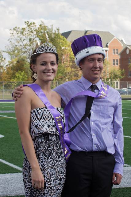 Seniors Lauren Dickerson and Greg Koviak were crowned Bluffton University's Homecoming queen and king at halftime of the annual Homecoming football game on Oct. 7.