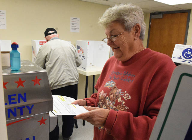 Linda Simpson, of Lima, cast her early ballot at the Board of Elections in downtown Lima on Thursday afternoon.
