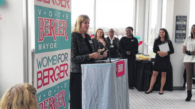 Dayton Mayor and Democratic gubernatorial candidate Nan Whaley was the keynote speaker at a Women For Berger really Thursday at Veterans Memorial Civic Center.