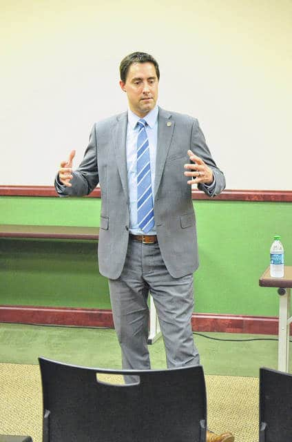 State Sen. Frank LaRose, district 27, spoke at the Putnam County Republican Party meeting Wednesday. He touched on his personal history, accomplishments as a state senator and his 2018 candidacy for Secretary of State.