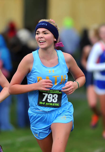 Bath's Charis Barnes runs in Saturday's cross country regional at Hedges Boyer Park in Tiffin.