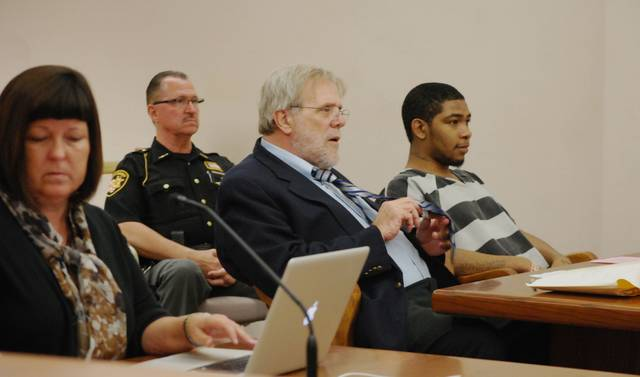 J Swygart | The Lima News  Missouri resident Rione Gray, far right, is pictured with his attorney, William Kluge, and assistant prosecutor Jana Emerick during Wednesday's hearing in Allen County Common Pleas Court.