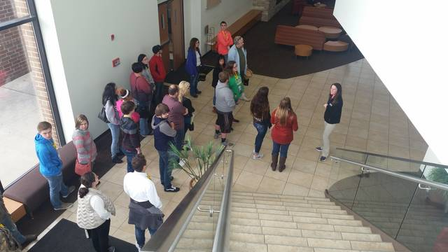 Students and their parents learn more about UNOH at an open house held Friday.