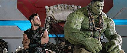 """This image released by Marvel Studios shows Chris Hemsworth, left, and the Hulk in a scene from, """"Thor: Ragnarok."""""""