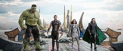 "This image released by Marvel Studios shows the Hulk, from left, Chris Hemsworth as Thor, Tessa Thompson as Valkyrie and Tom Hiddleston as Loki in a scene from, ""Thor: Ragnarok."""