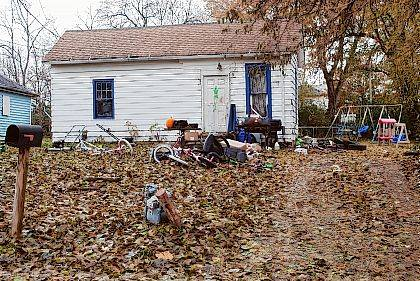 Prosecutors say William Doug Gipson, whose last known address was at this home at 1402 Norval Street, is wanted in connection with the illegal transportation and disposal of scrap tires on the city's south side.